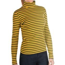 Joan Vass Striped Mock Turtleneck - Long Sleeve (For Women) in Loden