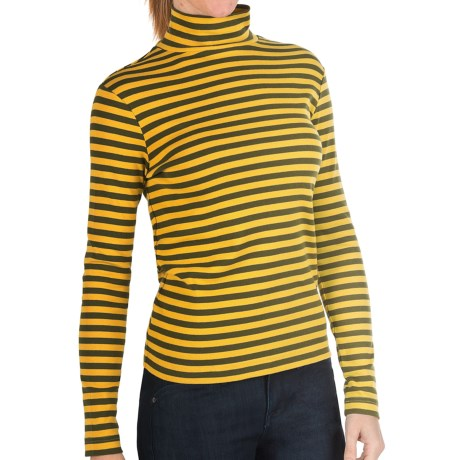 Joan Vass Striped Mock Turtleneck - Long Sleeve (For Women) in Loden