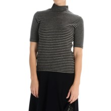 Joan Vass Striped Turtleneck - Elbow Sleeve (For Women) in Indigo/Charcoal - Overstock