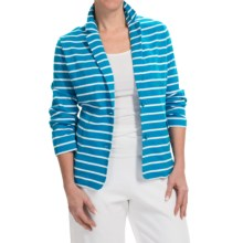 Joan Vass Striped Two-Button Jacket (For Women) in Bright Blue/White - Closeouts
