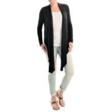 Joan Vass Studio Cascading-Front Cardigan Sweater (For Women) in Black - Closeouts