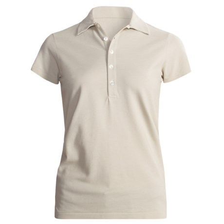 Joan Vass Studio Cotton Pique Polo Shirt - Short Sleeve (For Women) in Cream