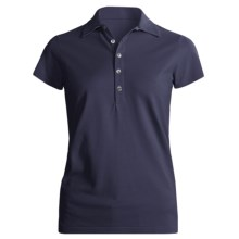 Joan Vass Studio Cotton Pique Polo Shirt - Short Sleeve (For Women) in Navy - Closeouts