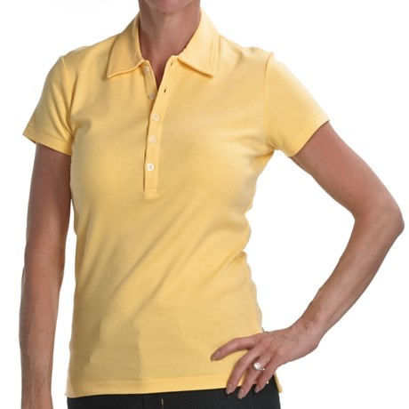 Joan Vass Studio Interlock Cotton Polo Shirt - Short Sleeve (For Women) in Light Yellow