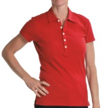 Joan Vass Studio Interlock Cotton Polo Shirt - Short Sleeve (For Women) in Red - Closeouts
