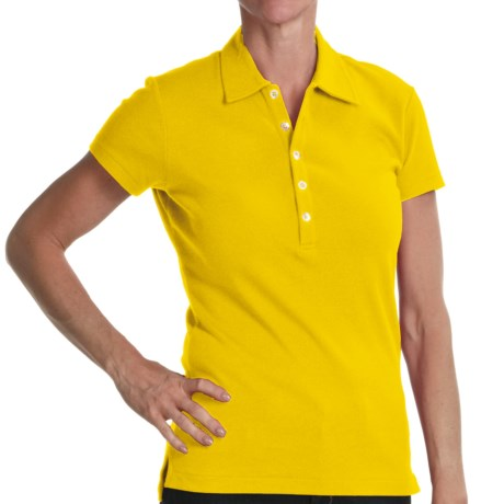 Joan Vass Studio Interlock Cotton Polo Shirt - Short Sleeve (For Women) in Light Yellow