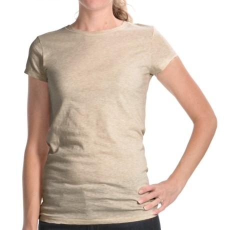 Joan Vass Studio Molly Crew Shirt - Cotton Jersey, Short Sleeve (For Women) in Beige Heather