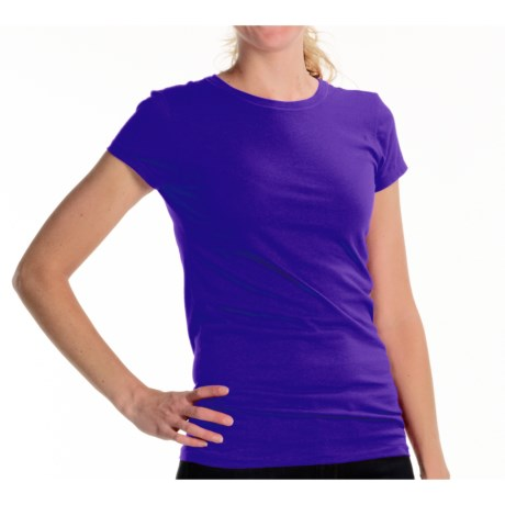 Joan Vass Studio Molly Crew Shirt - Cotton Jersey, Short Sleeve (For Women) in Purple