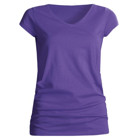 Joan Vass Studio Molly Shirt - Cotton Jersey, V-Neck, Short Sleeve (For Women) in Deep Purple