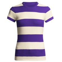 Joan Vass Studio Striped Ribbed Cotton T-Shirt - Crew Neck, Short Sleeve (For Women) in Purple/Cream - Closeouts