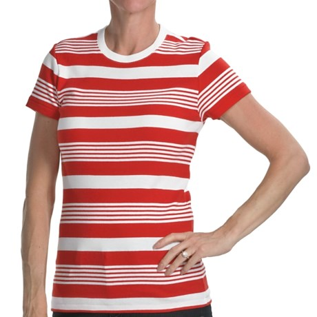 Joan Vass Studio Striped Ribbed Cotton T-Shirt - Crew Neck, Short Sleeve (For Women) in Red/White