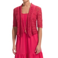 Joan Vass Tape Yarn Cardigan Sweater - Short Sleeve (For Women) in Red Raspberry - Closeouts