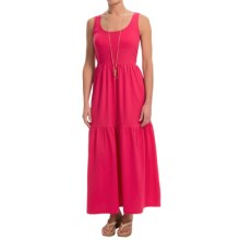 Joan Vass Tiered Cotton Maxi Dress - Sleeveless (For Women) in Red Raspberry - Closeouts