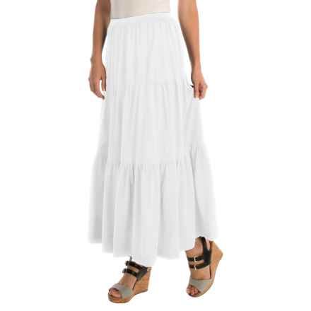 Joan Vass Tiered Long Skirt (For Women) in Bright White - Overstock