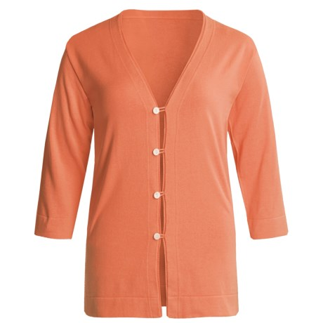 Joan Vass Tropical Jersey Cardigan Sweater - 3/4 Sleeve (For Regular-Plus Size Women) in Coral