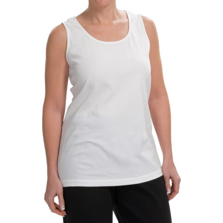 Joan Vass Tunic Length Cotton Tank Top (For Women)
