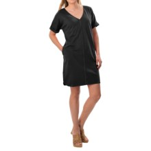 Joan Vass V-Neck Cotton Tunic Dress - Short Sleeve (For Women) in Black - Closeouts
