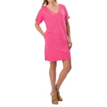 Joan Vass V-Neck Cotton Tunic Dress - Short Sleeve (For Women) in Fuschia - Closeouts