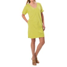 Joan Vass V-Neck Cotton Tunic Dress - Short Sleeve (For Women) in Wild Lime - Closeouts