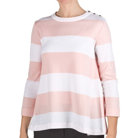 Joan Vass Wide Stripe Shirt - Cotton, 3/4 Sleeve (For Women) in Powder Pink