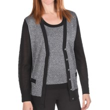 Joan Vass Wool-Lurex Sweater Cardigan (For Women) in Black - Closeouts