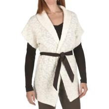 Joan Vass Wool-Mohair Cardigan Sweater - Belted, Short Sleeve (For Women) in Seasalt - Closeouts
