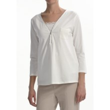 Joan Vass Zip Shirt - 3/4 Sleeve (For Women) in Bright White - Closeouts