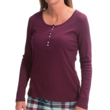 Jockey Art Deco Ribbed Shirt - Long Sleeve (For Women) in Berry - Closeouts