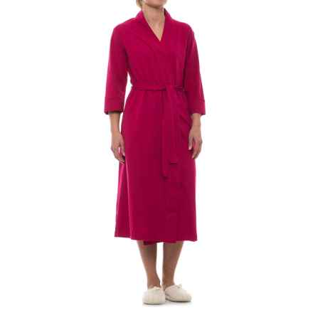 Jockey Cotton Knit Long Wrap Robe - 3/4 Sleeve (For Women) in Cranberry - Closeouts