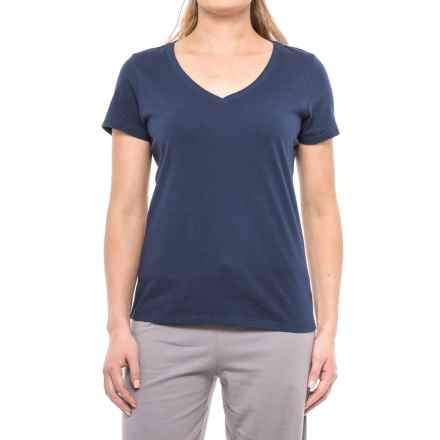 Jockey Dotcom V-Neck Lounge Shirt - Short Sleeve (For Women) in Medium Blue - Closeouts