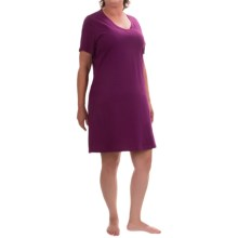 Jockey Jersey Knit Nightshirt - V-Neck, Short Sleeve (For Plus Size Women) in Wine - Closeouts