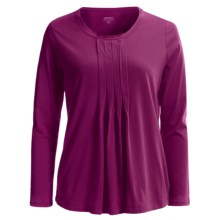 Jockey Pleated Lounge Shirt - Long Sleeve (For Women) in Berry - Closeouts