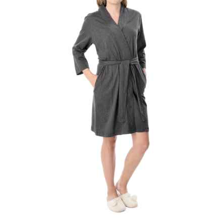Jockey Replenishment Wrap Robe - 3/4 Sleeve (For Women) in Charcoal Heather - Closeouts