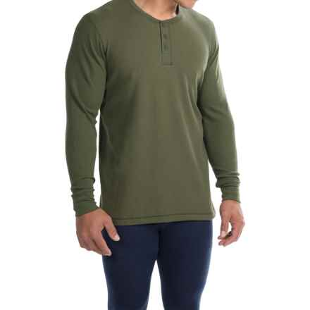 Jockey Stretch Waffle Henley Shirt - Long Sleeve (For Men) in Hunter - Overstock