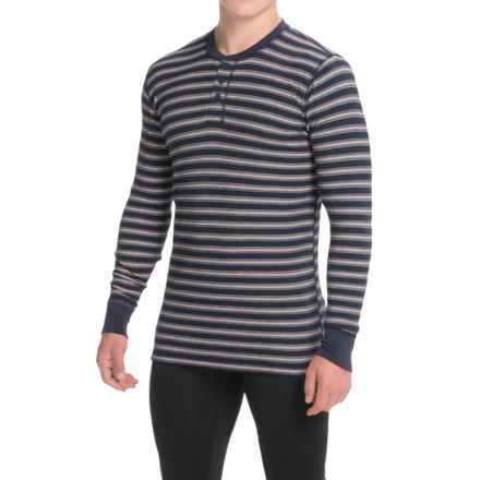 Jockey Stretch Waffle Henley Shirt - Long Sleeve (For Men) in Oatmeal Stripe - Overstock