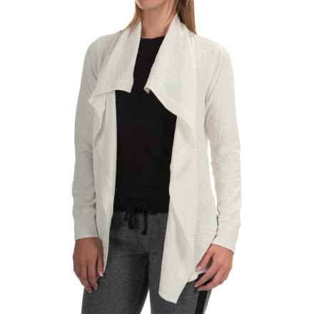Jockey Textured Jacquard Wrap Cardigan Sweater (For Women) in Cream - Overstock