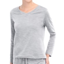 Jockey V-Neck Lounge Shirt - Cotton Blend, Long Sleeve (For Women) in Heather Grey - Closeouts