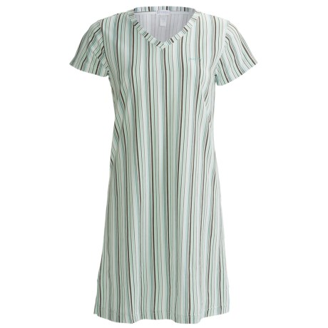 Jockey V-Neck Sleep Shirt - Short Sleeve (For Women) in Brown/Mint Stripe