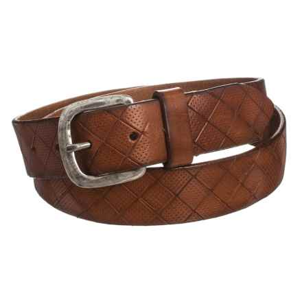 Embossed Leather Belt (For Men) in Brown - Closeouts