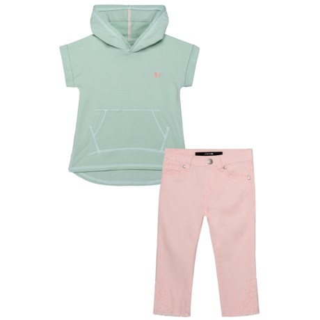 Joe's Jeans Heather Hoodie and Pants Set - 2-Piece, Short Sleeve (For Kids) in Mint
