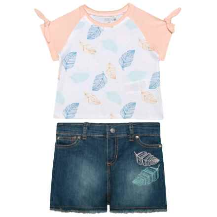 Raglan Shirt and Jean Shorts Set - 2-Piece, Short Sleeve (For Kids) in Baby Pink - Closeouts