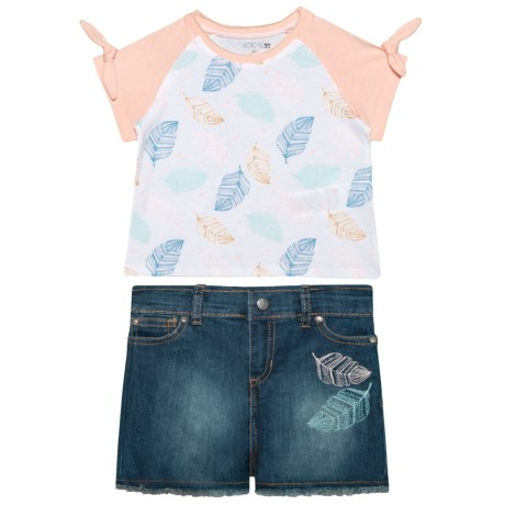 Joe's Jeans Raglan Shirt and Jean Shorts Set - 2-Piece, Short Sleeve (For Kids) in Baby Pink