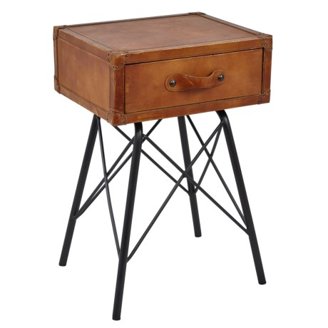 Jofran Genuine Leather Accent Table in Brown