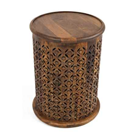 Jofran Hand-Carved Mango Wood Accent Table in Natural - Closeouts