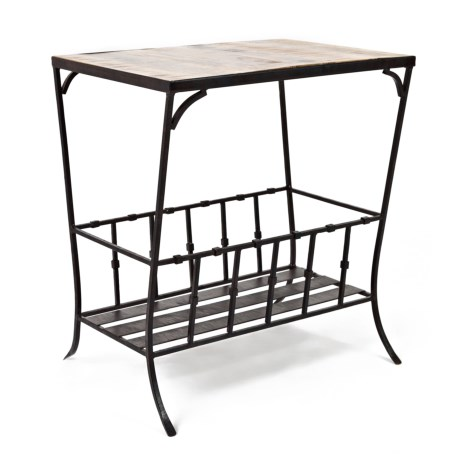 Jofran Wood and Metal End Table in Black