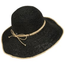John Callanan Big-Brim Sun Hat - Raffia (For Women) in Black - Closeouts