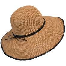 John Callanan Big-Brim Sun Hat - Raffia (For Women) in Tea - Closeouts