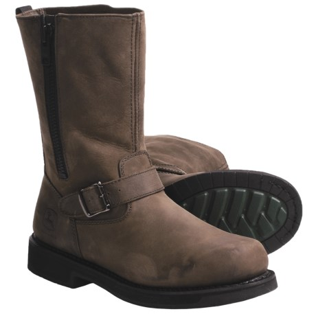 "John Deere Footwear 11"" Crazy Horse Work Boots with Side Zip - Oiled Leather (For Men) in Brown Stone"