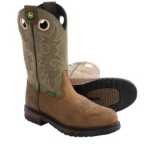 "John Deere Footwear 11"" Western Work Boots - Leather, Steel Toe (For Men) in Crazy Horse Green - Closeouts"