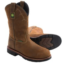 "John Deere Footwear 11"" Work Boots - Leather, Steel Toe (For Men) in Dark Brown - Closeouts"
